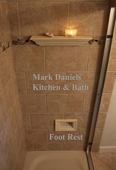 """Going to have this foot rest for shaving legs! An integrated shower foot rest. Located at height (chair height), recessed to """"lock foot in"""". Tile Shower Shelf, Small Bathroom Tiles, Bathroom Renos, Simple Bathroom, Bathroom Remodeling, Master Bathroom, Condo Bathroom, Bathroom Sconces, Master Room"""