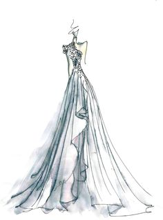 Limited edition 8.5 x 11 print of original watercolor fashion illustration by Carol Hannah of the Le Lumiere gown from Spring 2014.