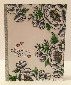 For You Materials used: Stamps – Birthday Blooms (Stampin' Up!), Lunar Animals (Mama Elephant); Metallics Glitter Tape (Stampin' Up!); Copic Markers and Wink of Stella.