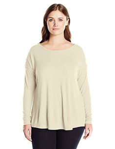 French Laundry Womens Plus Size Cozy Crew Neck Swing Top with Lace Trim Vanilla Cream 3X -- You can find out more details at the link of the image.Note:It is affiliate link to Amazon.