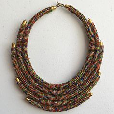 Multilayer Maasai beaded necklace Green Necklace, Beaded Necklace, Gold Necklace, Necklaces, First Finger, Multi Layer Necklace, Womens Size Chart, Zulu