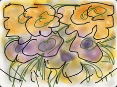 Flores amarillas y moradas