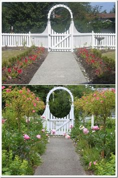 This cottage garden with decorative fencing creates an experience before a buyer has even entered the home.