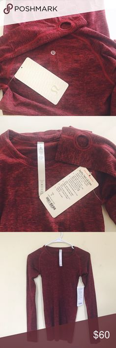 Lululemon Swiftly Tech Crew Burgundy Lululemon Swiftly Tech LS Crew: size 2, new w/tags, never worn in perfect condition, they no longer sell this color, has thumb holes ! <3 lululemon athletica Tops Tees - Long Sleeve
