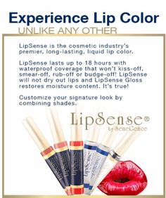 What is it & how does it work? 1st, it is NOT a stain, it doesn't penetrate the skin & go into the blood stream, it is a molecular bond, meaning it sticks to your skin. that is why you have to have clean, dry lips before applying. SD40 Alcohol is the delivery system. After applying LipSense it dissipates leaving the color & keeps it bacteria free. The patent is the color, the gloss is the moisture DO NOT use LipSense unless you are using SeneGence gloss as has Vit.E & Shea Butter.