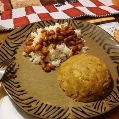 Puerto Rican Food mofongo rice and beans.