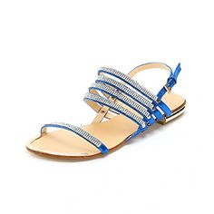 0b14274ff5873 Alexis Leroy Womens Diamond Peep Toe Beach Flat Sandals Blue 40 M EU 995 BM  US    To view further for this item