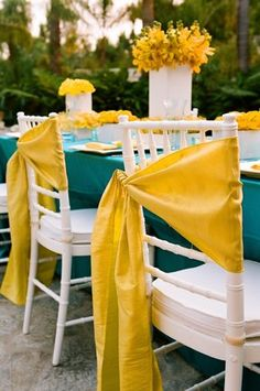 Yellow, white and teal -- and a wonderful new way to use a chair sash.
