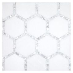 """Complete Tile Collection Natural Shell Mosaics, Framed Hexagon 3-3/8"""" with 3/8"""" Shells, MI#: 111-S2-401-042, Color: Thassos & White Shell"""