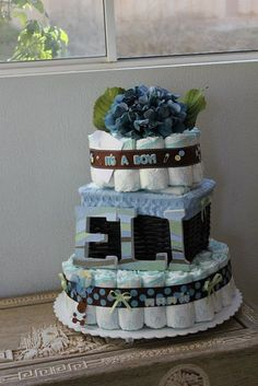 Brown & Blue Diaper Cake