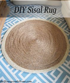 """Completed DIY Sisal Rug measures 45.5″ (3 3/4') D, using 7 rolls of 3/4"""" x 50′ sisal rope from Home Depot."""