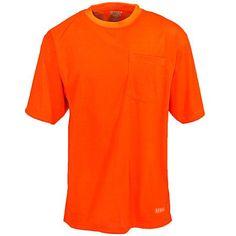 Berne Apparel Men's Hi-Vis HVK005 ORG Orange Short Sleeve Pocket Tee Shirt