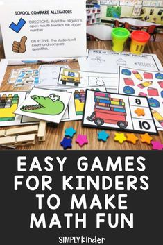 Easy math games for Kindergarten that are perfect for classroom and homeshool. Use them for math centres, early finishers, or independent practice. We got 18 fun math games that will help your students explore numbers and practice using them. Click through to see the details. Easy Math Games, Kindergarten Math Games, Math Activities, Maths, Fun Learning, Teaching Kids, Preschool Learning, Teaching Calendar, Common Core Curriculum