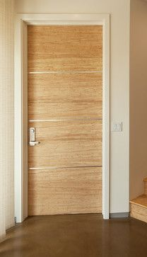 Bamboo Interior Door - Natural finish bamboo with a stainless steel inlay.  Many other patterns are available.