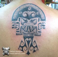 Tumi Tribal Tattoo Aztec Tribal Tattoos, Aztec Tattoo Designs, Inka Tattoo, Peru Tattoo, Tumi, Maya, Mesoamerican, Back Tattoo, American Art