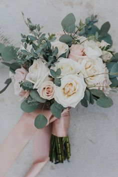 blush pink and greenery wedding bouquets with ribbons Rosa Bouquet, Bridal Bouquet Pink, Summer Wedding Bouquets, Spring Wedding Colors, Flower Bouquet Wedding, Rose Wedding, Floral Wedding, Dream Wedding, Summer Weddings