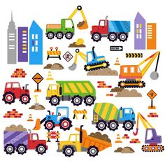 This cute set of wall decals brings you city construction without all the noise! Whirling cement mixers, tall cranes, busy bulldozers, and even a giant wrecking ball are hard at work.