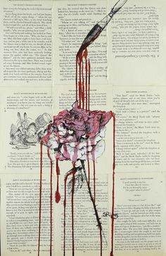 "Saatchi Online Artist: Sara Riches; Ink 2013 Drawing ""Painting the Roses Red"" #art #pen and ink #alice in wonderland  #roses red"