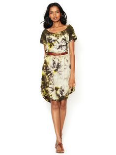 Printed Tie Dye Belted Dress, $85