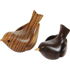Pair of folk art hand carved signed wood wooden song birds