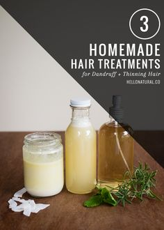 3 Homemade Treatments for Dandruff + Thinning Hair #DIY