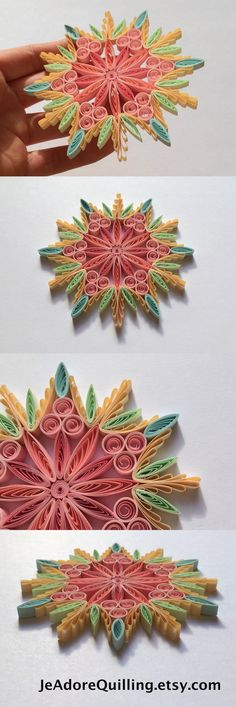 Snowflake Pink Beige Candy Christmas Tree Decor Winter Ornaments Gifts Toppers Fillers Office Corporate Paper Quilling Quilled Handmade Art