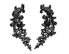 1 Pair of Vintage Venise Lace Appliques. Black Satin Tone. Floral Design. Flowers, Leaves and Swirls.  Item 1495A
