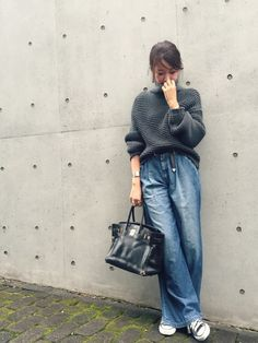 LIFE's#203 本社 | Piさんのニット・セーター「TODAYFUL 」を使ったコーディネート Wide Jeans, Cropped Wide Leg Jeans, Boho Outfits, Kids Outfits, Fashion Outfits, Womens Fashion, I Love Fashion, Denim Fashion, Kinds Of Clothes