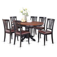 East-West Furniture dinette table set- 6 Great wooden dining chairs - A Beautiful round dining table- Faux Leather seat, Cherry and Black Finnish Butterfly Leaf round wooden dining table