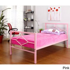 @Overstock - Metal Twin Bed - Add a pop of color to your child's bedroom with this bright twin bed frame. Made of sturdy metal, this frame comes in either pink, blue or purple and is easy to assemble.  http://www.overstock.com/Home-Garden/Metal-Twin-Bed/8553730/product.html?CID=214117 $215.38