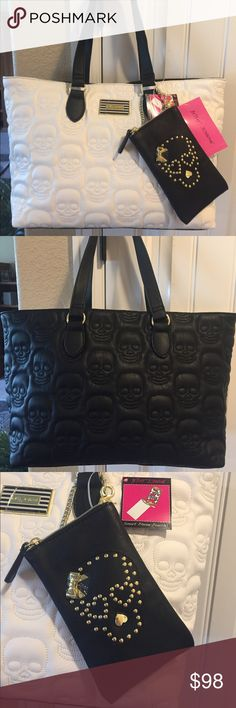"☠️NWT! BETSEY JOHNSON SKULL TOTE BRAND NEW! AUTHENTIC BETSEY JOHNSON SKULL TOTE WITH A SMARTPHONE POUCH-Approximate measurements are 17"" W at the top, & 14"" W at the bottom X 11"" H X 6 1/2"" D, with an approximate handle drop of 9"".... Betsey Johnson Bags Totes"