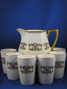 """Haas & Czjzek (H&C) Schlaggenwald Czechoslovakia Arts & Crafts Floral Design Pitcher & Cup Set (Signed """"R. Dillon""""/Dated 1923)"""