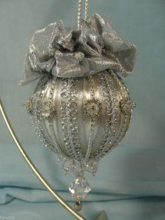 Handmade Beaded Christmas Tree Ornament Silver Trims Beads  Ribbon