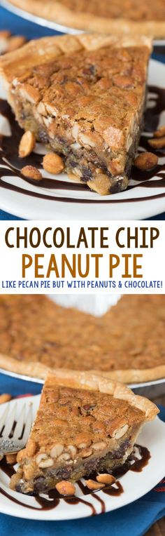 Chocolate Peanut Pie - this EASY pie recipe is full of peanut butter and chocolate with a gooey sweet center. Everyone loved this pie!