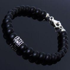 Men/Women Bracelet 6mm Matte Black Onyx with S925 Sterling Silver Bead Clasp #DIYKAREN #MenWomenGemstoneBraceletwithSilverClasp