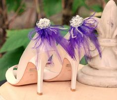 Shoe Clips Royal Purple Feathers & Silver Sequins. Bride Bridal Bridesmaid Gift. More: Ivory White Blue Red Yellow Orange, Boudoir Burlesque - pinned by pin4etsy.com