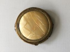 Vintage compact gold celluloid with by HollysCollageCorner on Etsy