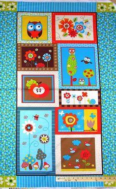 """Polka Dot Owl Butterfly Mushroom Timeless Treasures Fabric Panel  23""""  #8365 #TimelessTreasures"""