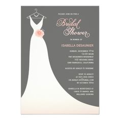 Stylish Elegant Ivory Silhouette Wedding Gown With Sweet Pink Peony Flower Bridal Shower Party Invite
