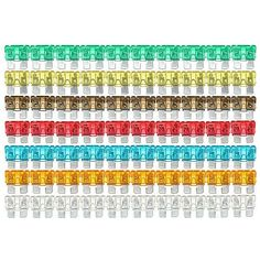 120xAssorted Standard Auto Mini Blade Fuse 5 7.5 10 15 20 25 30 AMP. 120pc Assorted Mixed Standard Car Auto Mini Blade Fuse    description:    condition: 100% Brand New  color: 7 Colors    features:    zinc Plated Spade  standard 3/4' X 3/4' Blade Fuse  color Coded For Easy Identification  use For Home And Industrial Applications  popular Size:5amp,7.5amp,10amp,15amp,20amp,25amp,30amp     package Includes:    10pc-orange 5 Amp  10pc-black 7.5 Amp  20pc-red 10 Amp  20pc-blue 15 Amp…