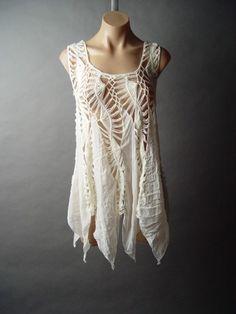 Ivory Crochet Handkerchief Hem Romantic Bohemian Fairy Nymph Top Shirt Layer M