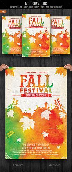 Fall Festival Flyer Template PSD #design Download: http://graphicriver.net/item/fall-festival-flyer/12938966?ref=ksioks