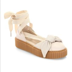 d630bfea Puma Shoes | Fenty Puma Bandana Bow Leather Creeper Flats | Color: White |  Size: Various