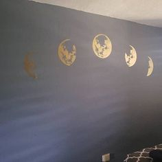 Moon Phases Wall Decal Moon Phase Decor Celestial Wall Art   Etsy Kids Room Wall Stickers, Wall Decals, Wall Art, Tree Design On Wall, Fox Face, Moon Decor, Face Design, Tree Designs, Moon Phases