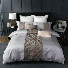 This Designer Bedding Set with Pure Egyptian Cotton and No Chemical Retention is the perfect way to complete your night's sleep. With 400 Thread Count this 4 Piece or 7 Piece Bedding Set will be perfect for your bedroom decor. Cotton Bedding Sets, King Bedding Sets, Duvet Sets, Duvet Cover Sets, King Comforter, Blue Comforter, Purple Bedding, Queen Bedding, Cotton Sheets