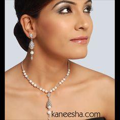 Pearl/American Diamond Rhodium Polished Necklace Set