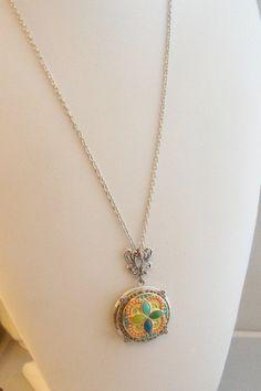 Gypsy Spell Locket Silver Turquoise Collier par ValleyGirlDesigns