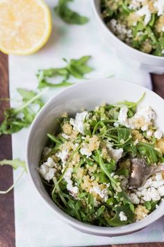 Warm Arugula Salad with Quinoa and Goat Cheese