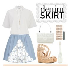 """""""lace on denim"""" by polychampion-805 ❤ liked on Polyvore featuring Moschino Cheap & Chic, T By Alexander Wang, Jimmy Choo, Rochas, River Island, Essie, Lollia, women's clothing, women's fashion and women"""