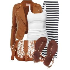 """outfit"" by mkomorowski on Polyvore Maxi skirt. Leather jacket. Flops. Early fall outfit."